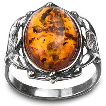 Sterling Silver Amber Victorian Style Oval Ring