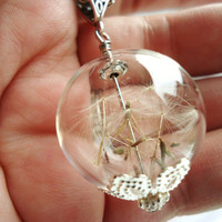 Dandelion Seed Glass Ball Necklace In Silver, Lucky You