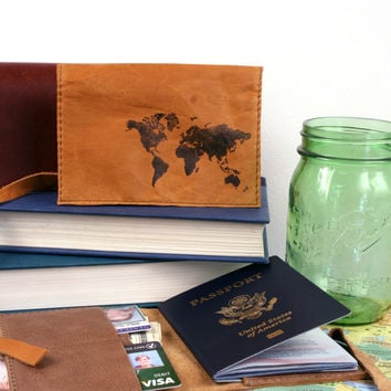 World Map Leather Passport Cover *Free Customization!*