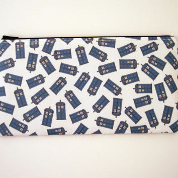 Doctor Who, Tardis, Zipper Pouch, Pencil Pouch, Gadget Bag, Make Up Bag