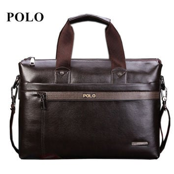2016 New Fashion Men's bag Famous Brand POLO Shoulder Bag vintage pu leather men Messenger Bags Fashion Men's Briefcase Bags