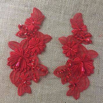 "2 Pairs, Gorgeous 3D floral applique pair ,Beaded,Sequined,Full stich quality, 8.5"" x 4"" (Item# B0520N8)"
