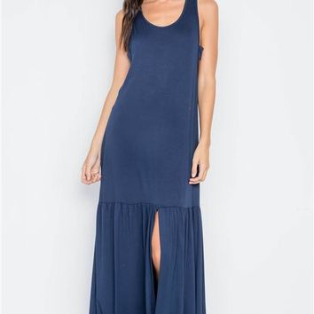 Shirred Hem Maxi Dress | Navy
