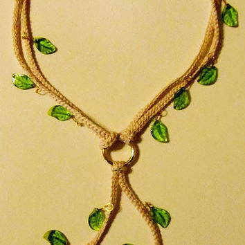 Crochet Necklace with Peridot Leaves by Starfall on Etsy