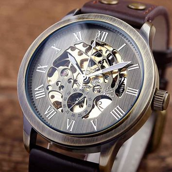 Vintage Bronze Men's Automatic Mechanical Steampunk Skeleton Roman Numbers Dial Analog Leather Band Sports Men Wrist Watch Gifts