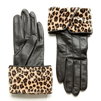 Lord & Taylor Animal Print Turn Cuff Gloves