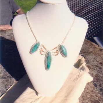 Crystal Blue Herringbone Stitched Beaded Necklace And Earrings Set