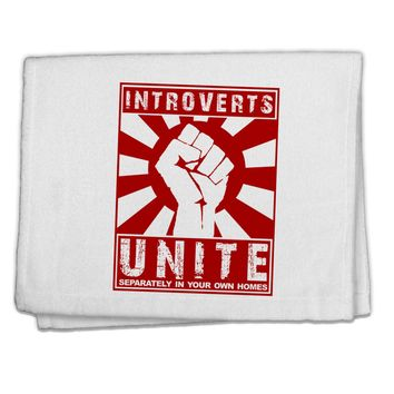 """Introverts Unite Funny 11""""x18"""" Dish Fingertip Towel by TooLoud"""
