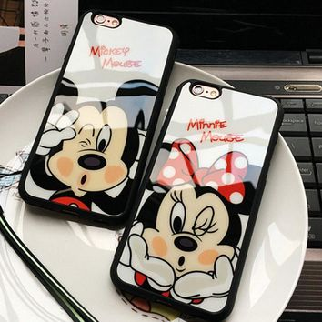 Luxury Cute Minnie Mickey Acrylic mirror Case for iPhone 6s Cases 5 5s SE 6s Plus Cover for iphone 7 Case Plus phone cases P10