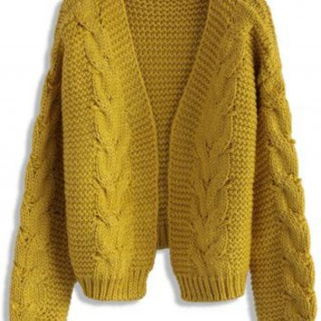 Sun Daze Cable Knit Cardigan in Mustard - Retro, Indie and Unique Fashion