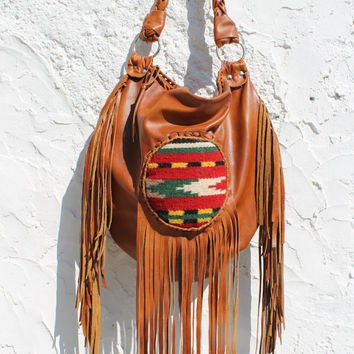 Copper rusted fringe festival hobo kilim ethnical mexican southwestern western navajo native bag gypsy bohemian fringed leather bag rusted