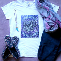 Hippie tribal bohemian purple elephant tshirt for juniors girls and women