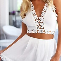 White Crochet Lace Trim Spaghetti Strap V Neck Tie Back Crop Halter Shorts Two Piece Romper