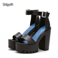 Gdgydh Drop Shipping White Summer Sandal Shoes for Women 2017 New Arrival Thick Heels Sandals Platform Causel Russian Shoes