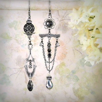 Moonlight Sonata - Asymmetric Mismatch Earrings, Silver Black Chandelier, Sleek Assemblage, Bridal Jewelry, Art Nouveau Filigree Flower