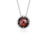 Garnet and White Topaz Halo Necklace in Sterling Silver (12mm) | Blue Nile