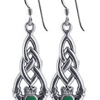 LWES072 Sterling Silver Celtic Knot Irish Claddagh Friendship and Love Malachite Earrings