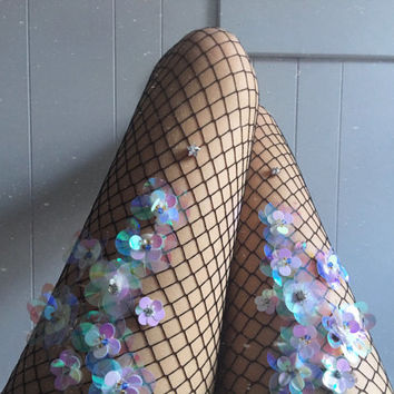 Holographic Flowery Fishnet