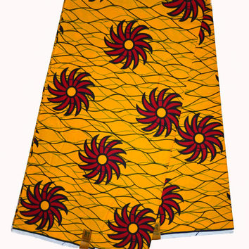 Yellow red african print fabric, for African Print dress, African Clothing, Ankara fabric,yellow,red, flowers, african fabric by the yard