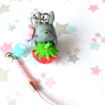 Strawberry Flower Totoro Charm, Studio Ghibli Phone Charm, Anime, Kawaii Phone Strap, Pink Flower Strap, Japan, beaded charm