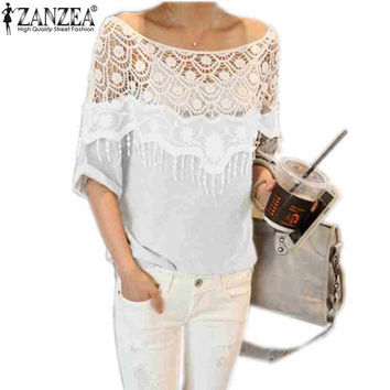 Free Shipping 2014 New Women Hollow Lace Crochet Cape Collar Tops Batwing Sleeve T Shirt Plus Size