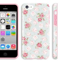 5c teen girl case, Akna Glamour Series [Flexible TPU]*[High Impact]*[Lovely Floral Pattern] Soft Back Cover for iPhone 5C - [English Flower]** Indestructible