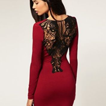 Paprika | Paprika Bodycon Dress With Crochet Back at ASOS