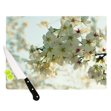 """Robin Dickinson """"Cherry Blossoms"""" White Flower Cutting Board"""