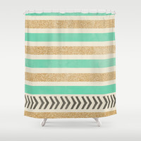MINT AND GOLD STRIPES AND ARROWS Shower Curtain by Allyson Johnson