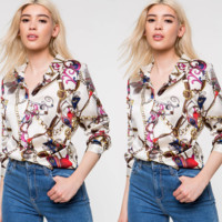 Versace Fashion printed long sleeve shirt with lapel and chain printing