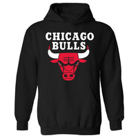 Mens Chicago Bulls NBA Basketball Logo Pullover Hoodie NEW UK XS-XXL