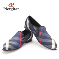 Piergitar Blue and white plaid canvas shoes Luxury brand men loafers black pig leather insole men 's casual shoes men's flats