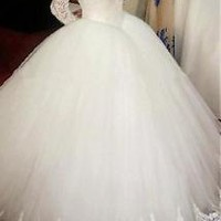 Long Sleeves Ball Gown Wedding Dress with Lace Trim Custom Size 0 2 4 6 8 10 12