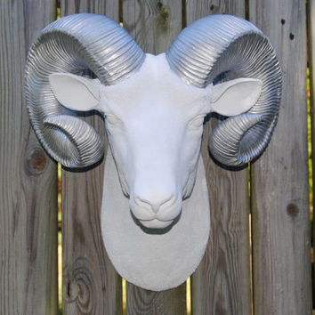 White Ram Head Wall Mount with Silver Horns - Faux Bighorn Sheep Wall Hanging - Faux Taxidermy Ram Sheep Head with Large Horns R0110