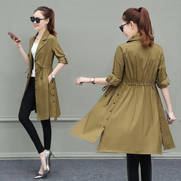 Long Trench Coat For Women Autumn 2018 Thin Trench Coats Ladies Outerwear Slim Coat abrigo mujer Trench Plus Size Clothes Khaki