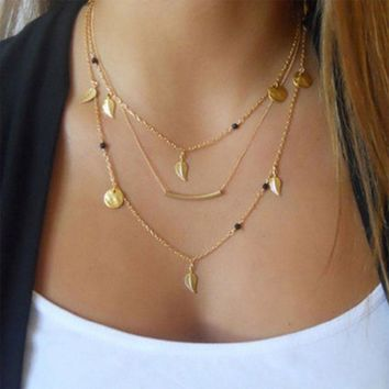 New Gold Silver Chain Beads Leaves Pendant Necklace Fashion Jewelry Multi Layer Necklaces for Women Collier Femme Accessories   171213