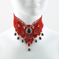 Red Lace Choker Gothic Victorian Choker Necklace with by Arthlin