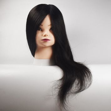 """Free Shipping Mannequin Dummy With 100% 18"""" Natural Human Hair Practice Training Heads For Hairdresser Dolls Head Training Head"""
