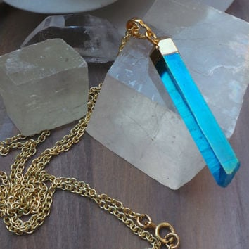 Crystal point necklace. Aura Crystal Pendant. Blue Titanium aura quartz crystal point. 24k gold dipped crystal point. Boho crystal necklace.