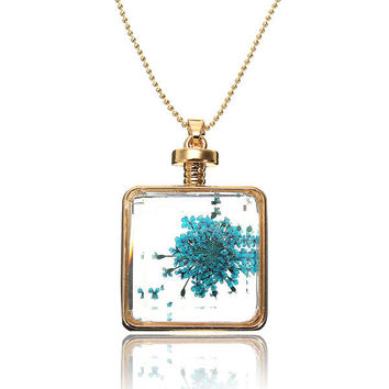 Dry Flower Glass Square Bottle Pendant Necklace