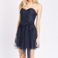 Formal Affair Navy Strapless Sweetheart Pleated Tulle Dress