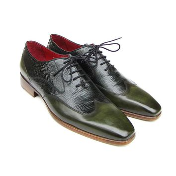 Paul Parkman Men's Wingtip Oxford Floater Leather Green Shoes (Id#023)