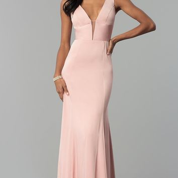 Sleeveless Long Prom Dress with Deep V-Neckline
