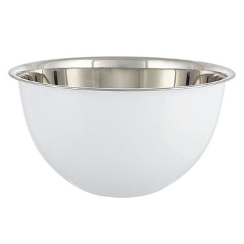 John Lewis Large Stainless Steel Mixing Bowl, White, Dia.26cm at John Lewis