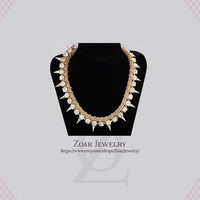 Golden Spikes Chunky Statement Necklace Bib Statement Fashion Party Necklace