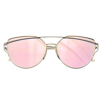 Cat Eye Mirrored Flat Lenses Aviator Sunglasses Metal Frame Womens Shades