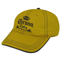 Corona Extra Mexico Beer Gargoyle Garment Wash Velcro Adjustable Hat Cap Mustard