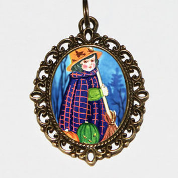 Cute Witch Necklace, Halloween Jewelry, Broom, Pumpkins, Bronze Oval Pendant