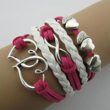 Double Infinity Multilayer Heart Bracelet -Handmade