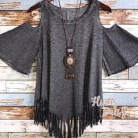 Mineral Washed Cold Shoulder Fringe Top